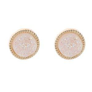 White & Gold Druzy Earring Stud